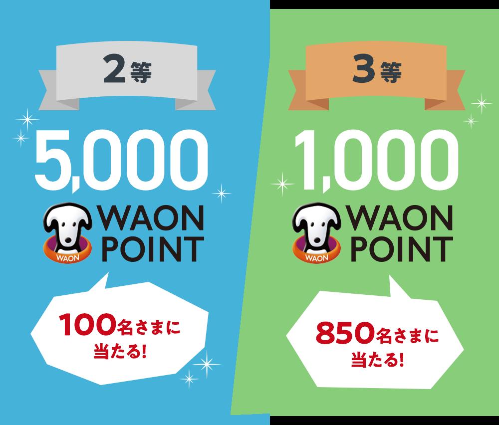2等 100名さまに当たる! 5,000 WAON POINT 3等 850名さまに当たる! 1,000 WAON POINT