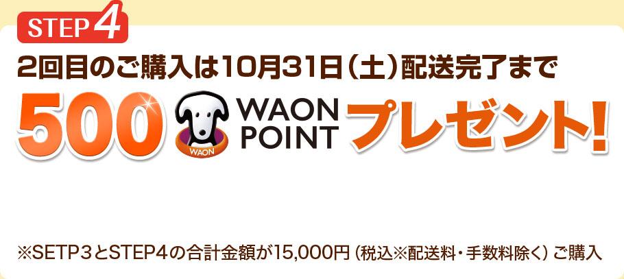 STEP4 2回目のご購入は10月31日(土)配送完了まで500WAON POINTプレゼント! STEP3とSTEP4の合計金額が15,000円(税込※配送料・手数料除く)ご購入