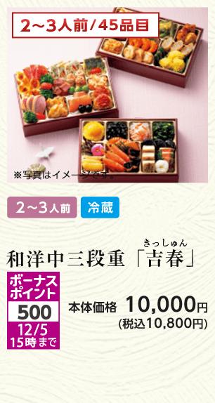 2~3人前/45品目 和洋中三段重「吉春」本体価格10,000円(税込10,800円)