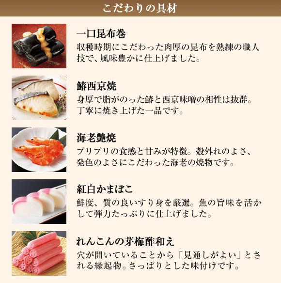 こだわりの具材 一口昆布巻  鰆西京焼 海老艶焼 紅白かまぼこ れんこんの芽梅酢和え