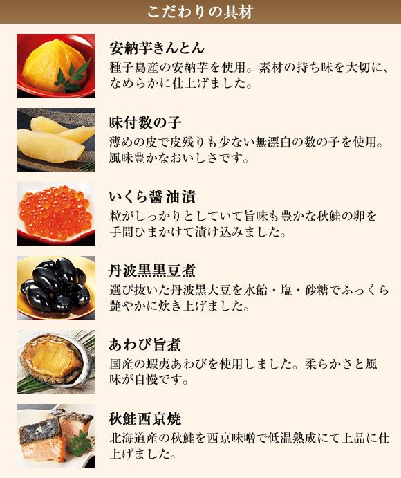 こだわりの具材:安納芋きんとん、味付数の子、いくら醤油漬、丹波黒黒豆煮、あわび旨煮、秋鮭西京焼