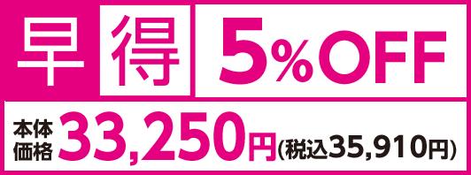 早得5%OFF 本体価格33,250円(税込35,910円)